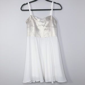 Express Ivory Metallic Party Dress Size - 6
